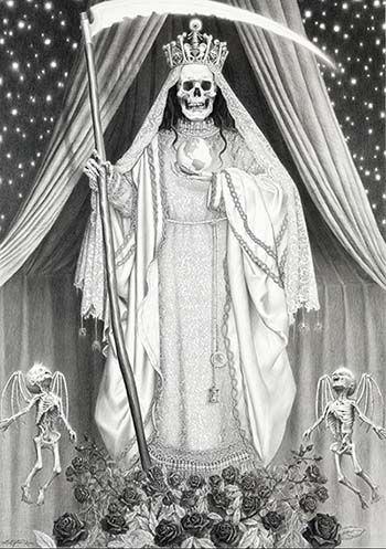 imagen de la santa muerte blanca