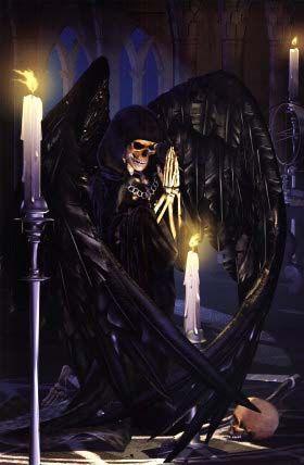 imagen de la santa muerte con alas