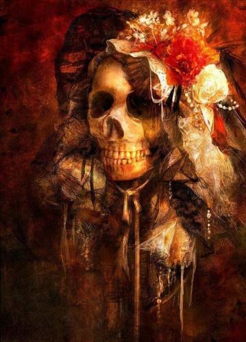 santa muerte con flor